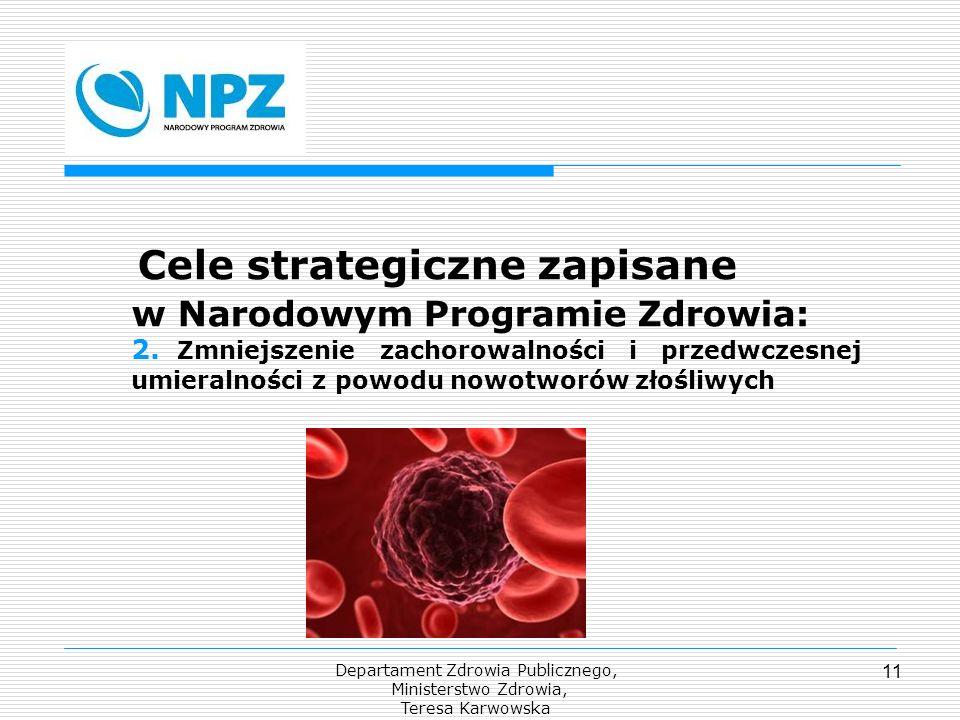 Departament Zdrowia Publicznego, Ministerstwo Zdrowia, Teresa Karwowska 11 Cele strategiczne zapisane w Narodowym Programie Zdrowia: 2. Zmniejszenie z