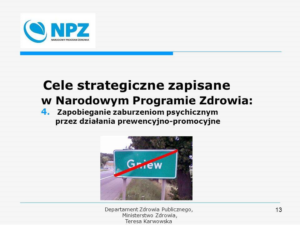 Departament Zdrowia Publicznego, Ministerstwo Zdrowia, Teresa Karwowska 13 Cele strategiczne zapisane w Narodowym Programie Zdrowia: 4. Zapobieganie z
