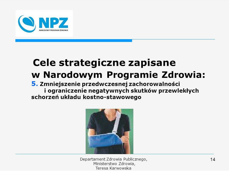 Departament Zdrowia Publicznego, Ministerstwo Zdrowia, Teresa Karwowska 14 Cele strategiczne zapisane w Narodowym Programie Zdrowia: 5. Zmniejszenie p
