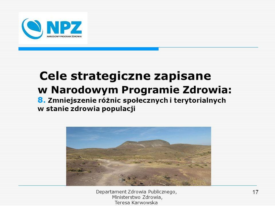 Departament Zdrowia Publicznego, Ministerstwo Zdrowia, Teresa Karwowska 17 Cele strategiczne zapisane w Narodowym Programie Zdrowia: 8. Zmniejszenie r