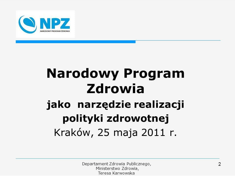 Departament Zdrowia Publicznego, Ministerstwo Zdrowia, Teresa Karwowska 2 Narodowy Program Zdrowia jako narzędzie realizacji polityki zdrowotnej Krakó