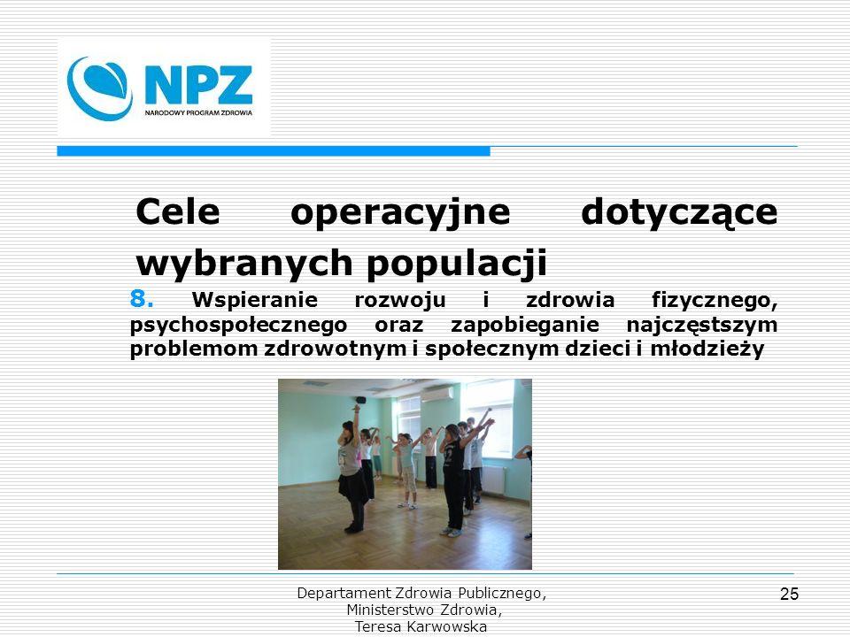 Departament Zdrowia Publicznego, Ministerstwo Zdrowia, Teresa Karwowska 25 Cele operacyjne dotyczące wybranych populacji 8. Wspieranie rozwoju i zdrow
