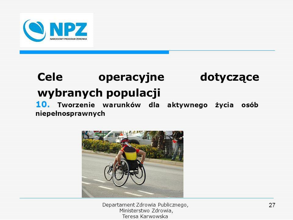 Departament Zdrowia Publicznego, Ministerstwo Zdrowia, Teresa Karwowska 27 Cele operacyjne dotyczące wybranych populacji 10. Tworzenie warunków dla ak