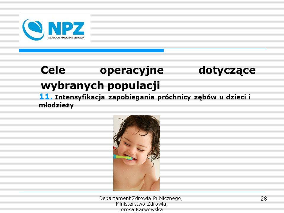 Departament Zdrowia Publicznego, Ministerstwo Zdrowia, Teresa Karwowska 28 Cele operacyjne dotyczące wybranych populacji 11. Intensyfikacja zapobiegan