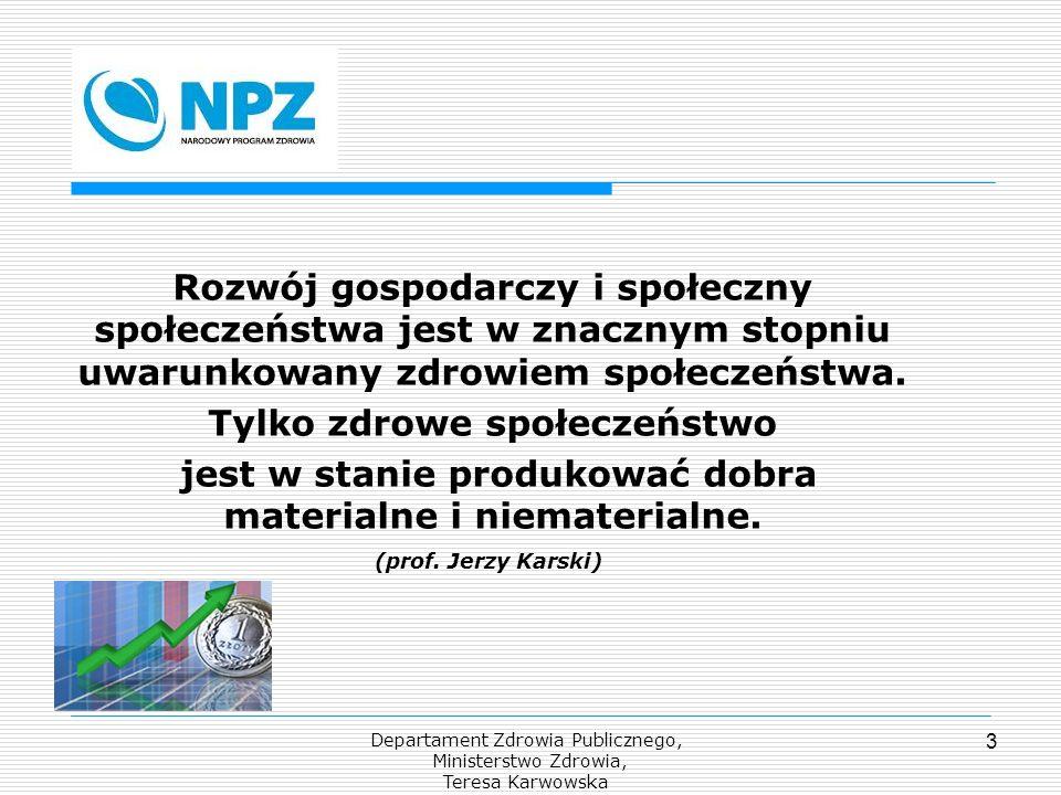 Departament Zdrowia Publicznego, Ministerstwo Zdrowia, Teresa Karwowska 3 Rozwój gospodarczy i społeczny społeczeństwa jest w znacznym stopniu uwarunk