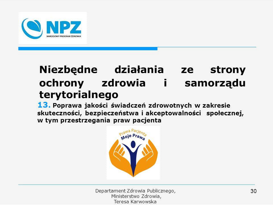 Departament Zdrowia Publicznego, Ministerstwo Zdrowia, Teresa Karwowska 30 Niezbędne działania ze strony ochrony zdrowia i samorządu terytorialnego 13