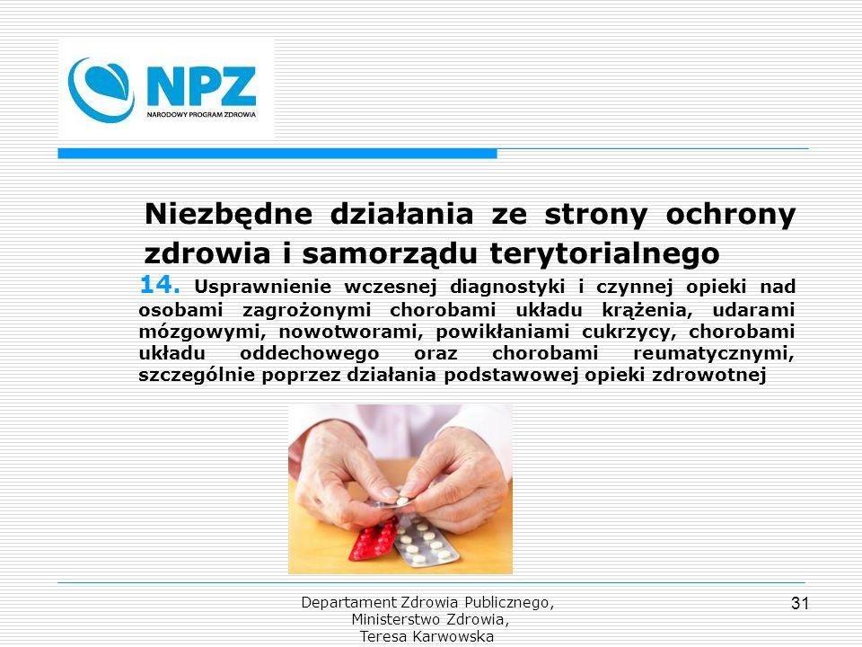 Departament Zdrowia Publicznego, Ministerstwo Zdrowia, Teresa Karwowska 31 Niezbędne działania ze strony ochrony zdrowia i samorządu terytorialnego 14