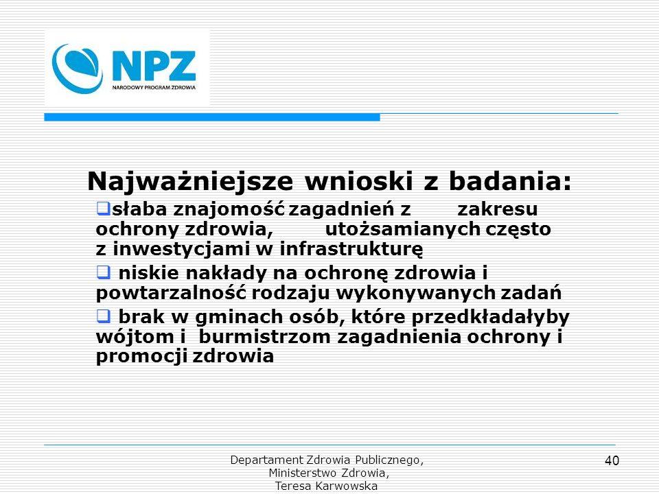 Departament Zdrowia Publicznego, Ministerstwo Zdrowia, Teresa Karwowska 40 Najważniejsze wnioski z badania: słaba znajomość zagadnień z zakresu ochron