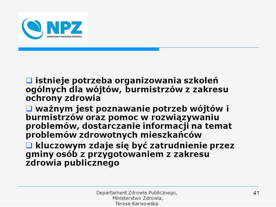 Departament Zdrowia Publicznego, Ministerstwo Zdrowia, Teresa Karwowska 41 istnieje potrzeba organizowania szkoleń ogólnych dla wójtów, burmistrzów z
