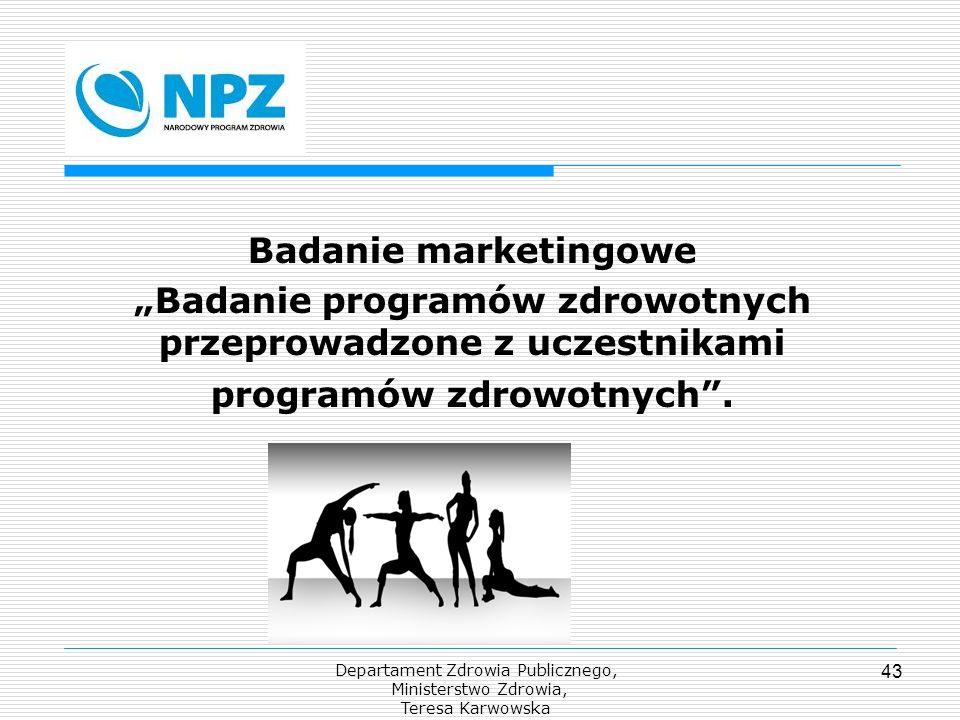 Departament Zdrowia Publicznego, Ministerstwo Zdrowia, Teresa Karwowska 43 Badanie marketingowe Badanie programów zdrowotnych przeprowadzone z uczestn