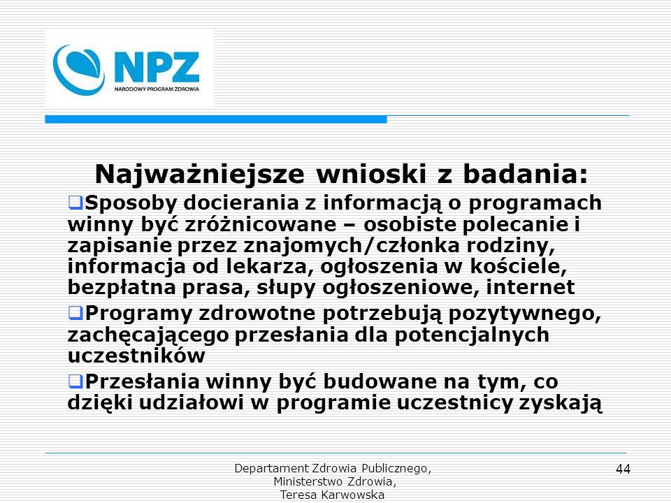 Departament Zdrowia Publicznego, Ministerstwo Zdrowia, Teresa Karwowska 44 Najważniejsze wnioski z badania: Sposoby docierania z informacją o programa