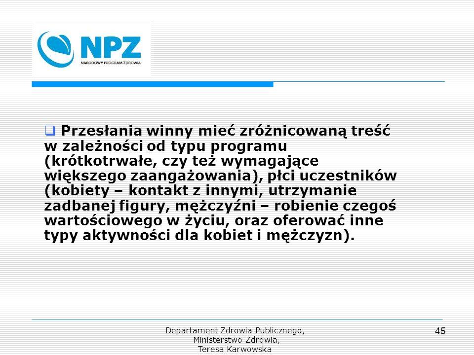 Departament Zdrowia Publicznego, Ministerstwo Zdrowia, Teresa Karwowska 45 Przesłania winny mieć zróżnicowaną treść w zależności od typu programu (kró
