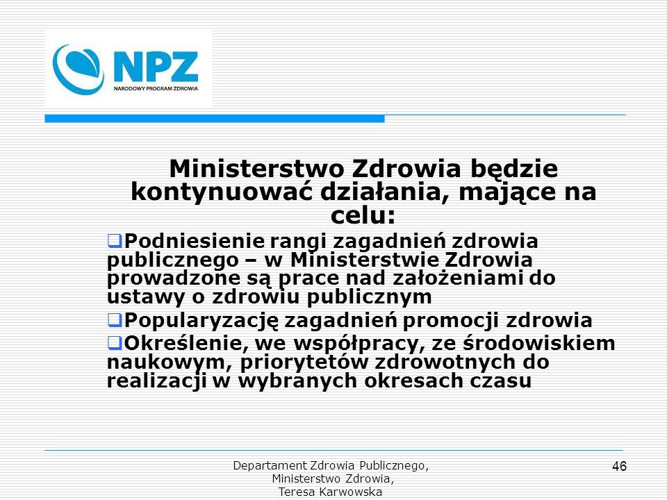 Departament Zdrowia Publicznego, Ministerstwo Zdrowia, Teresa Karwowska 46 Ministerstwo Zdrowia będzie kontynuować działania, mające na celu: Podniesi
