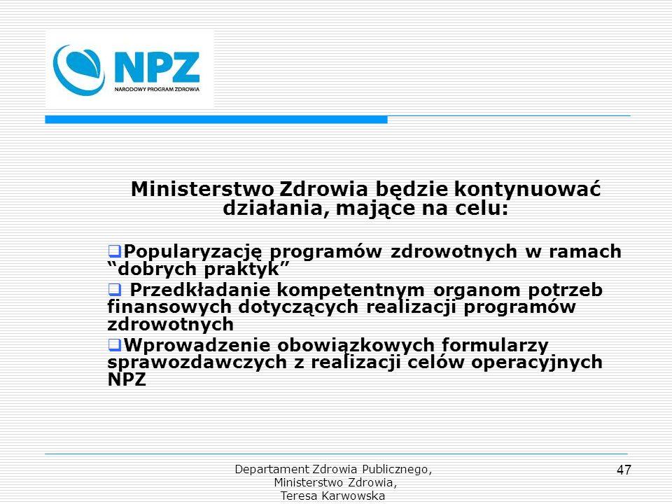 Departament Zdrowia Publicznego, Ministerstwo Zdrowia, Teresa Karwowska 47 Ministerstwo Zdrowia będzie kontynuować działania, mające na celu: Populary