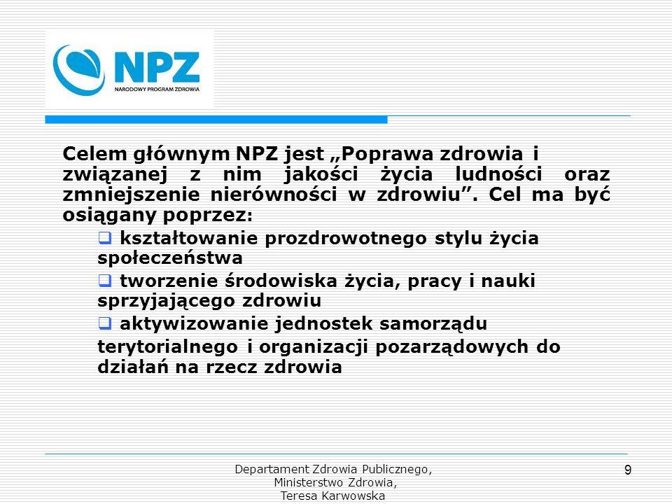 Departament Zdrowia Publicznego, Ministerstwo Zdrowia, Teresa Karwowska 9 Celem głównym NPZ jest Poprawa zdrowia i związanej z nim jakości życia ludno