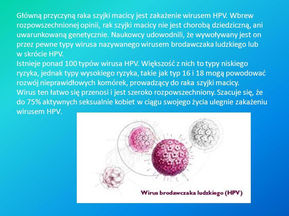 Główną przyczyną raka szyjki macicy jest zakażenie wirusem HPV. Wbrew rozpowszechnionej opinii, rak szyjki macicy nie jest chorobą dziedziczną, ani uw