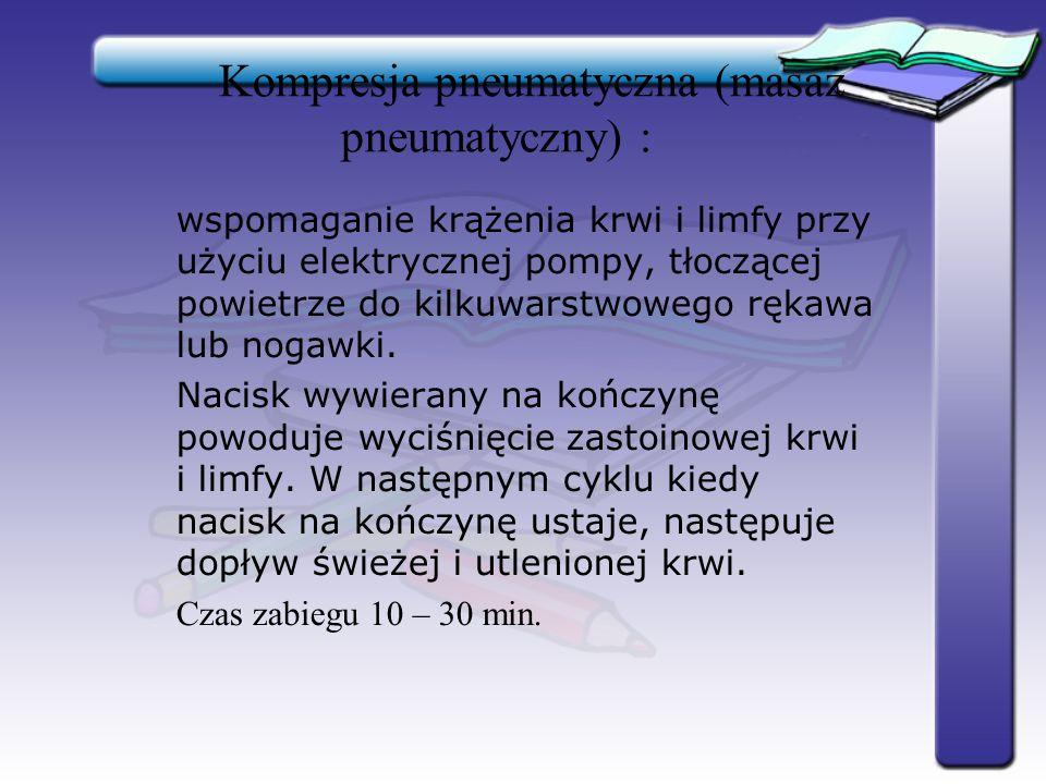Kompresja pneumatyczna (masaż pneumatyczny) : wspomaganie krążenia krwi i limfy przy użyciu elektrycznej pompy, tłoczącej powietrze do kilkuwarstwoweg
