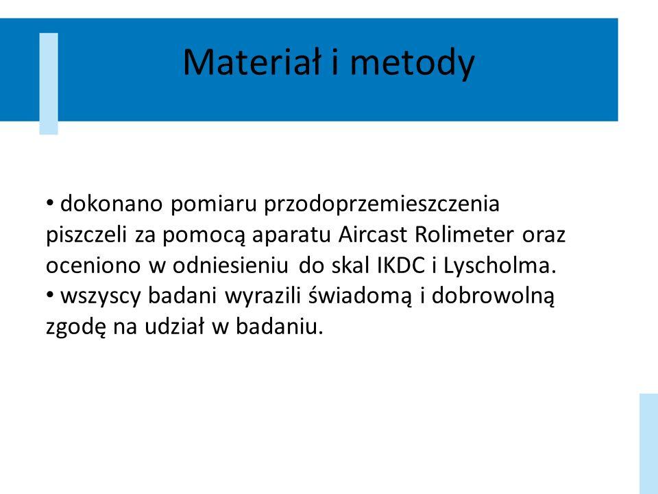 Materiał i metody dokonano pomiaru przodoprzemieszczenia piszczeli za pomocą aparatu Aircast Rolimeter oraz oceniono w odniesieniu do skal IKDC i Lysc