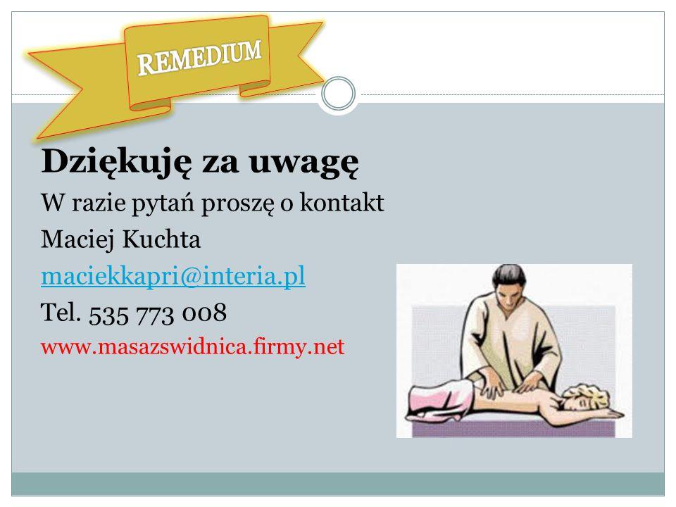 Przy serii zabiegów wybrany dodatkowy masaż gratis. W ofercie dla firm znakomita nagroda dla np. najlepszego pracownika