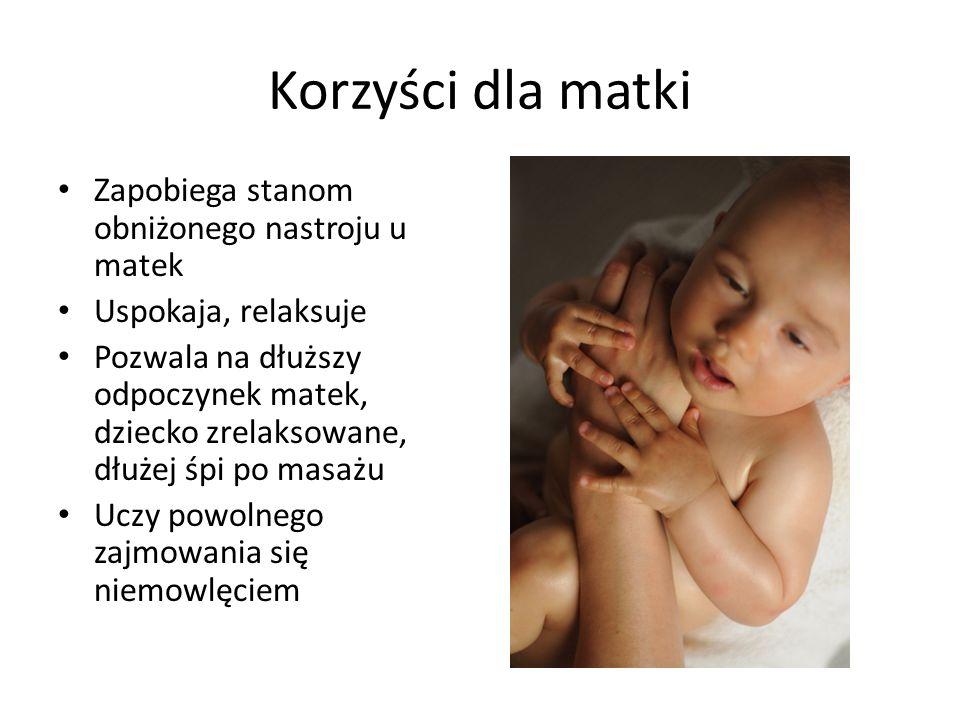 Korzyści dla matki Zapobiega stanom obniżonego nastroju u matek Uspokaja, relaksuje Pozwala na dłuższy odpoczynek matek, dziecko zrelaksowane, dłużej