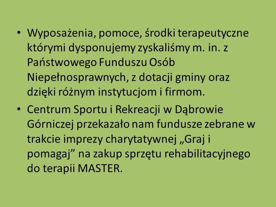 Wyposażenia, pomoce, środki terapeutyczne którymi dysponujemy zyskaliśmy m.