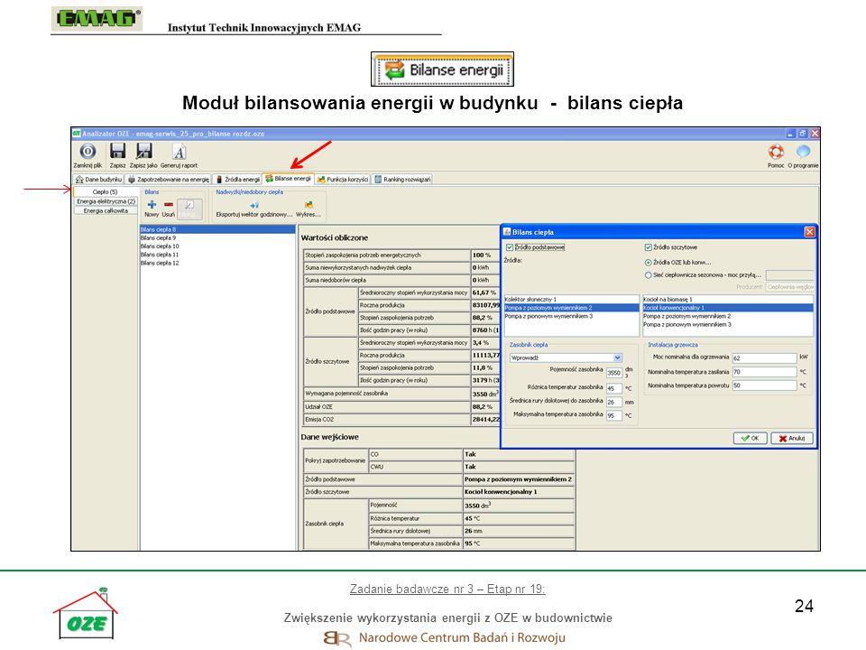 24 Moduł bilansowania energii w budynku - bilans ciepła Zadanie badawcze nr 3 – Etap nr 19: Zwiększenie wykorzystania energii z OZE w budownictwie