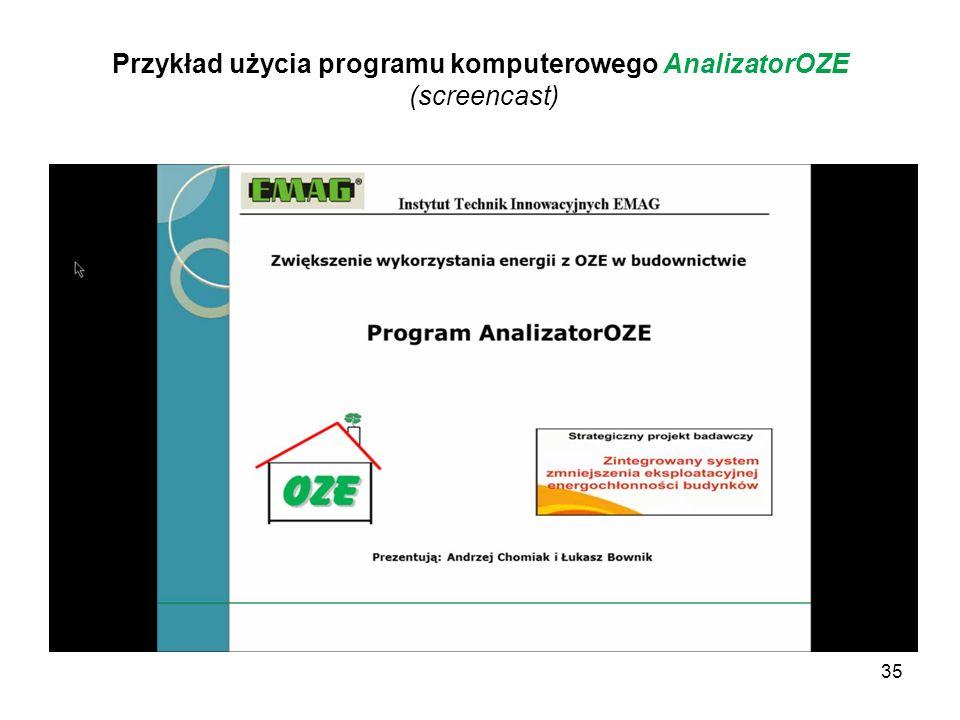 35 Przykład użycia programu komputerowego AnalizatorOZE (screencast)