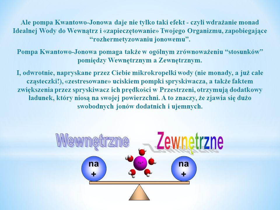 Korzystanie z pompy Kwantowo-Jonowej daje jeszcze jeden znaczący efekt: Gdy w Organizmie jest nadmiar tych lub innych jonów, to na zewnątrz Organizmu przebiega wzajemne zastępowanie się jonów na konkretnych odcinkach powłoki jonowej Organizmu...