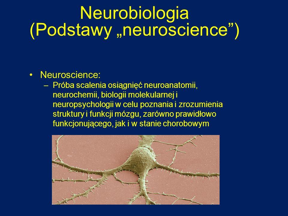 Neurobiologia (Podstawy neuroscience) Neuroscience: –Próba scalenia osiągnięć neuroanatomii, neurochemii, biologii molekularnej i neuropsychologii w c