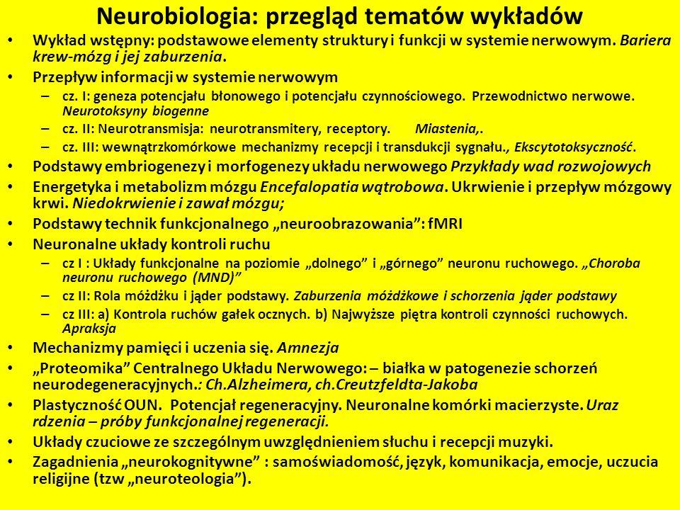 Neurobiologia: przegląd tematów wykładów Wykład wstępny: podstawowe elementy struktury i funkcji w systemie nerwowym. Bariera krew-mózg i jej zaburzen