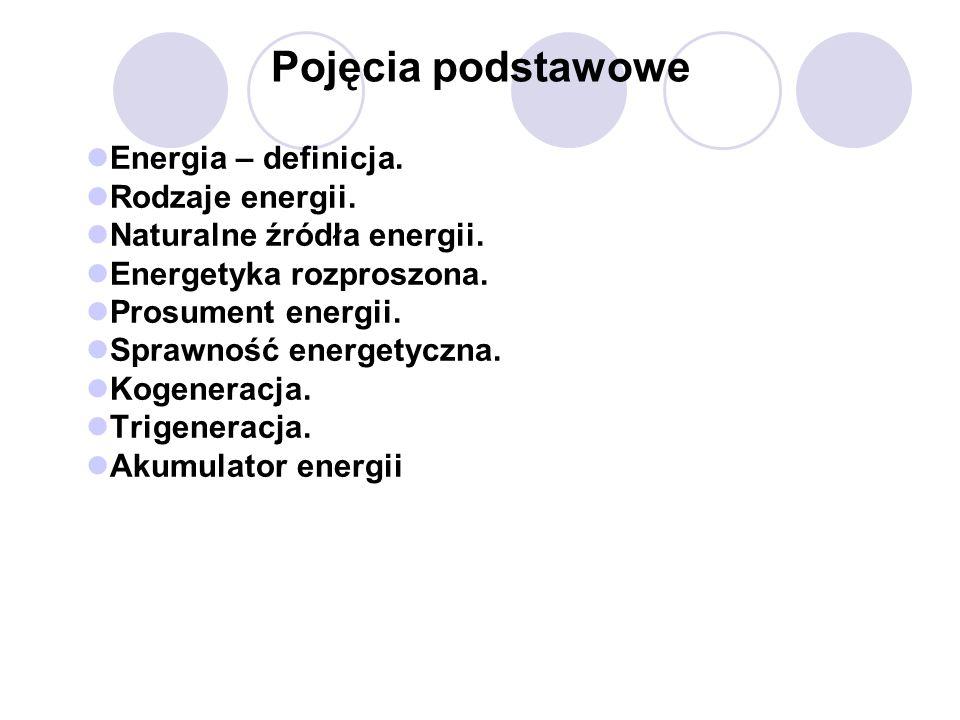 Pojęcia podstawowe Energia – definicja. Rodzaje energii. Naturalne źródła energii. Energetyka rozproszona. Prosument energii. Sprawność energetyczna.