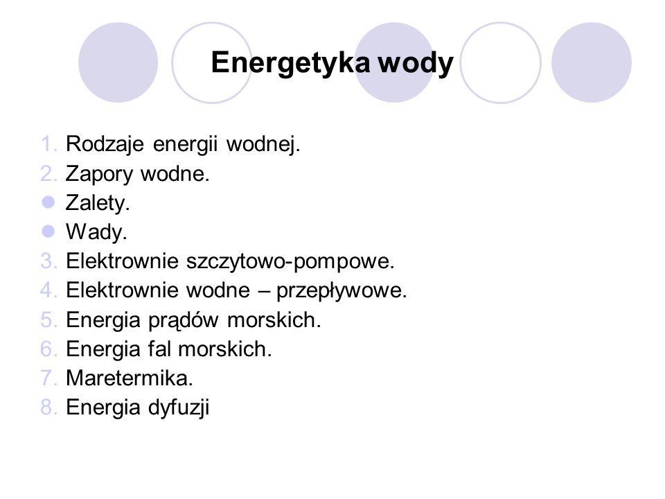 Energetyka wody 1.Rodzaje energii wodnej. 2.Zapory wodne. Zalety. Wady. 3.Elektrownie szczytowo-pompowe. 4.Elektrownie wodne – przepływowe. 5.Energia