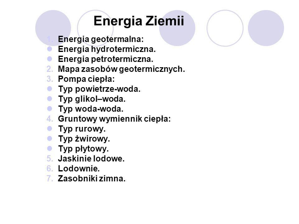 Energia Ziemii 1.Energia geotermalna: Energia hydrotermiczna. Energia petrotermiczna. 2.Mapa zasobów geotermicznych. 3.Pompa ciepła: Typ powietrze-wod