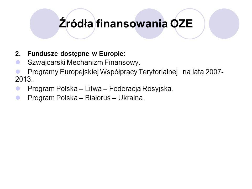 Źródła finansowania OZE 2.Fundusze dostępne w Europie: Szwajcarski Mechanizm Finansowy. Programy Europejskiej Współpracy Terytorialnej na lata 2007- 2