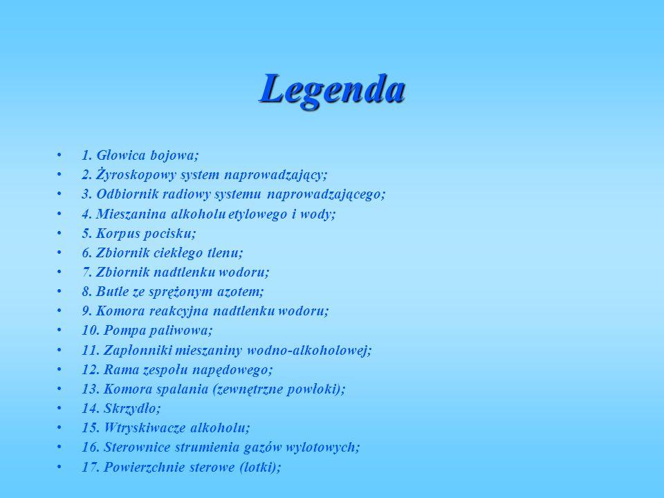 Legenda 1.Głowica bojowa; 2. Żyroskopowy system naprowadzający; 3.