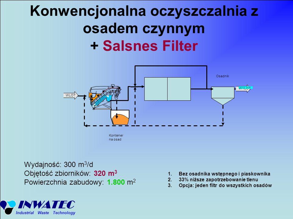 INWATEC Industrial Waste Technology Konwencjonalna oczyszczalnia z osadem czynnym + Salsnes Filter Osadnik Wydajność: 300 m 3 /d Objętość zbiorników: