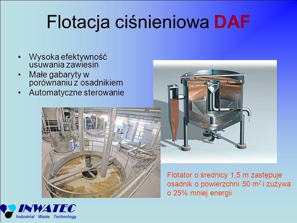 INWATEC Industrial Waste Technology Flotacja ciśnieniowa DAF Wysoka efektywność usuwania zawiesin Małe gabaryty w porównaniu z osadnikiem Automatyczne