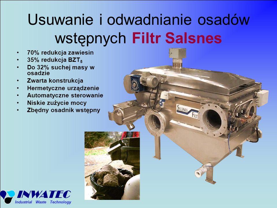 INWATEC Industrial Waste Technology Usuwanie i odwadnianie osadów wstępnych Filtr Salsnes 70% redukcja zawiesin 35% redukcja BZT 5 Do 32% suchej masy