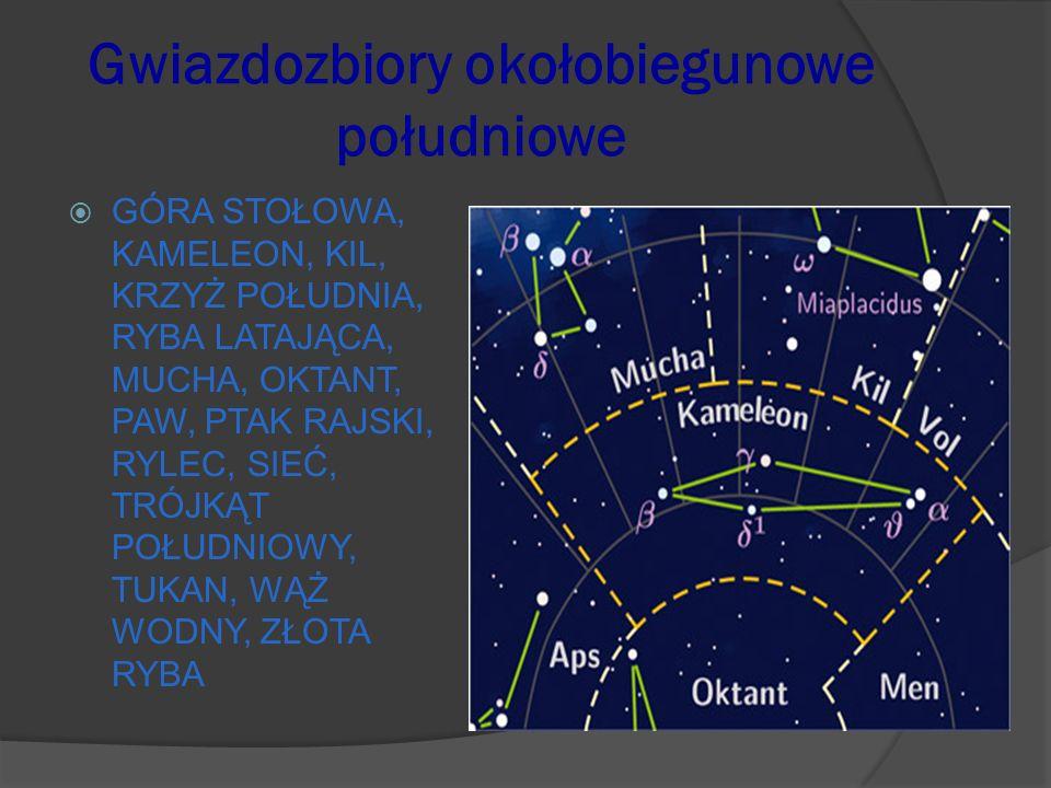 Gwiazdozbiory okołobiegunowe południowe GÓRA STOŁOWA, KAMELEON, KIL, KRZYŻ POŁUDNIA, RYBA LATAJĄCA, MUCHA, OKTANT, PAW, PTAK RAJSKI, RYLEC, SIEĆ, TRÓJ