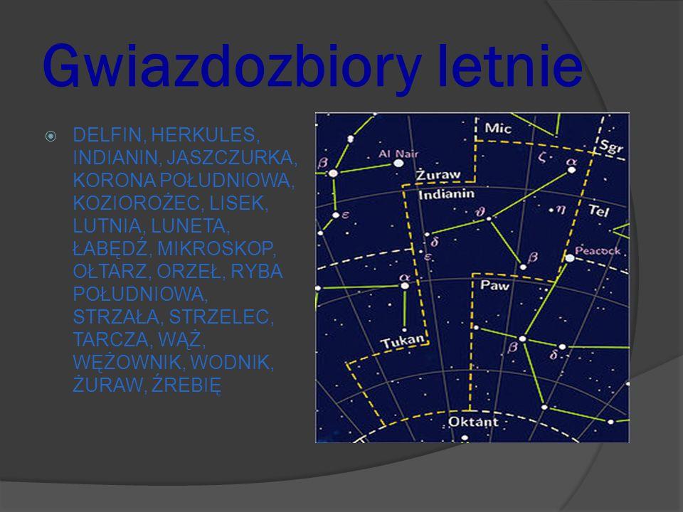Gwiazdozbiory letnie DELFIN, HERKULES, INDIANIN, JASZCZURKA, KORONA POŁUDNIOWA, KOZIOROŻEC, LISEK, LUTNIA, LUNETA, ŁABĘDŹ, MIKROSKOP, OŁTARZ, ORZEŁ, R