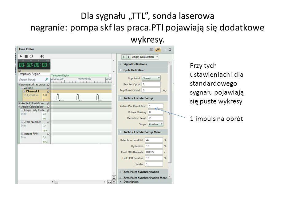 Dla sygnału TTL, sonda laserowa nagranie: pompa skf las praca.PTI pojawiają się dodatkowe wykresy. Przy tych ustawieniach i dla standardowego sygnału