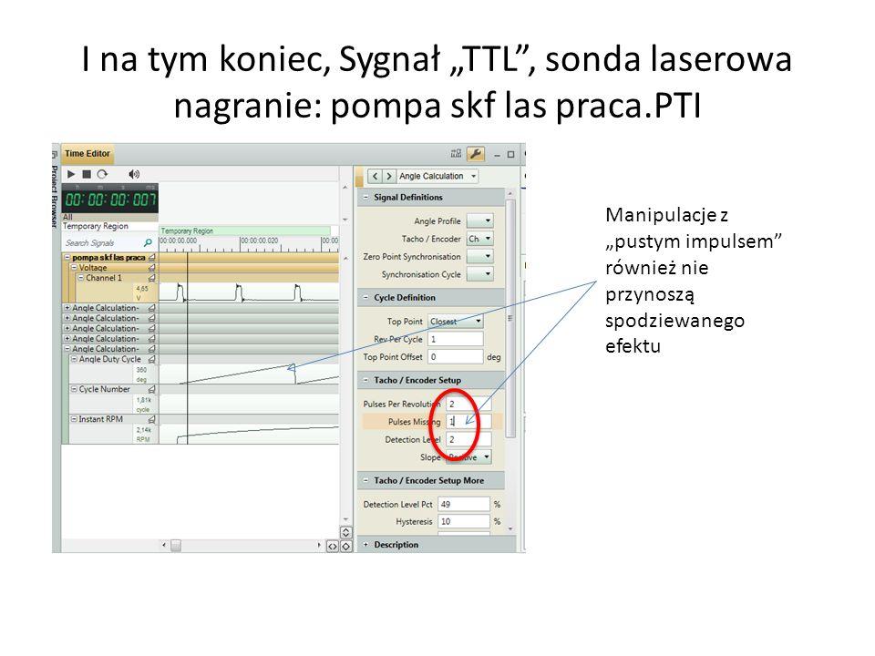 I na tym koniec, Sygnał TTL, sonda laserowa nagranie: pompa skf las praca.PTI Manipulacje z pustym impulsem również nie przynoszą spodziewanego efektu
