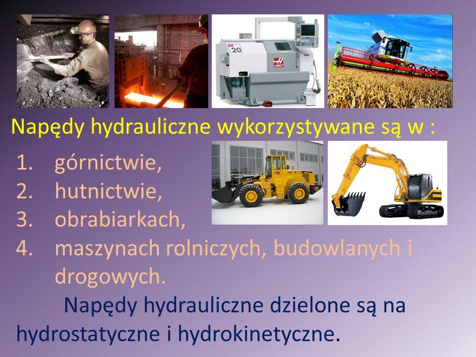 1.górnictwie, 2.hutnictwie, 3.obrabiarkach, 4.maszynach rolniczych, budowlanych i drogowych. Napędy hydrauliczne dzielone są na hydrostatyczne i hydro