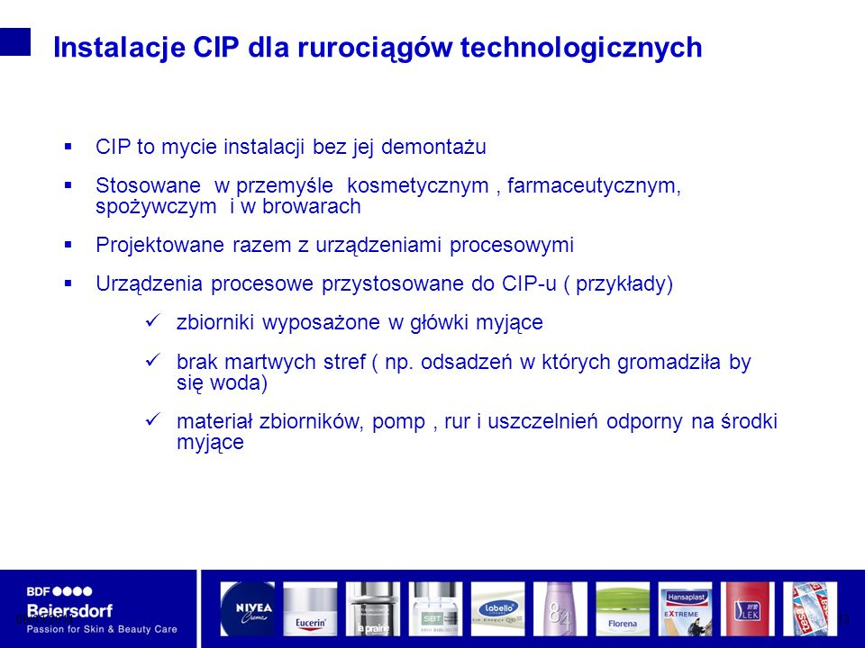 08/03/201413 Instalacje CIP dla rurociągów technologicznych CIP to mycie instalacji bez jej demontażu Stosowane w przemyśle kosmetycznym, farmaceutycznym, spożywczym i w browarach Projektowane razem z urządzeniami procesowymi Urządzenia procesowe przystosowane do CIP-u ( przykłady) zbiorniki wyposażone w główki myjące brak martwych stref ( np.