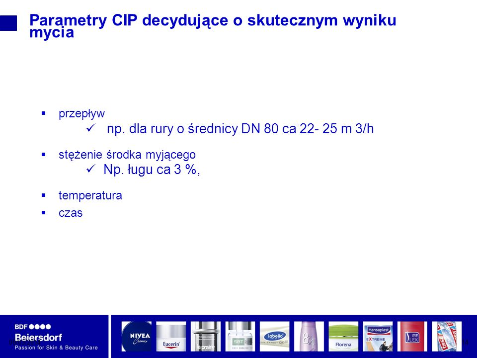 08/03/201414 Parametry CIP decydujące o skutecznym wyniku mycia przepływ np.