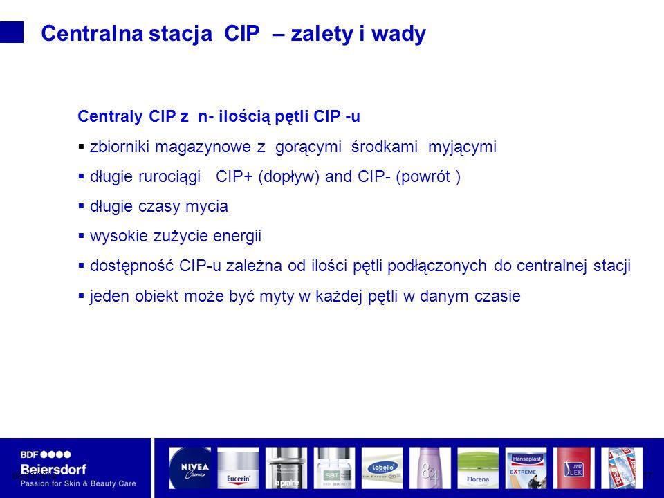 08/03/201417 Centralna stacja CIP – zalety i wady Centraly CIP z n- ilością pętli CIP -u zbiorniki magazynowe z gorącymi środkami myjącymi długie rurociągi CIP+ (dopływ) and CIP- (powrót ) długie czasy mycia wysokie zużycie energii dostępność CIP-u zależna od ilości pętli podłączonych do centralnej stacji jeden obiekt może być myty w każdej pętli w danym czasie