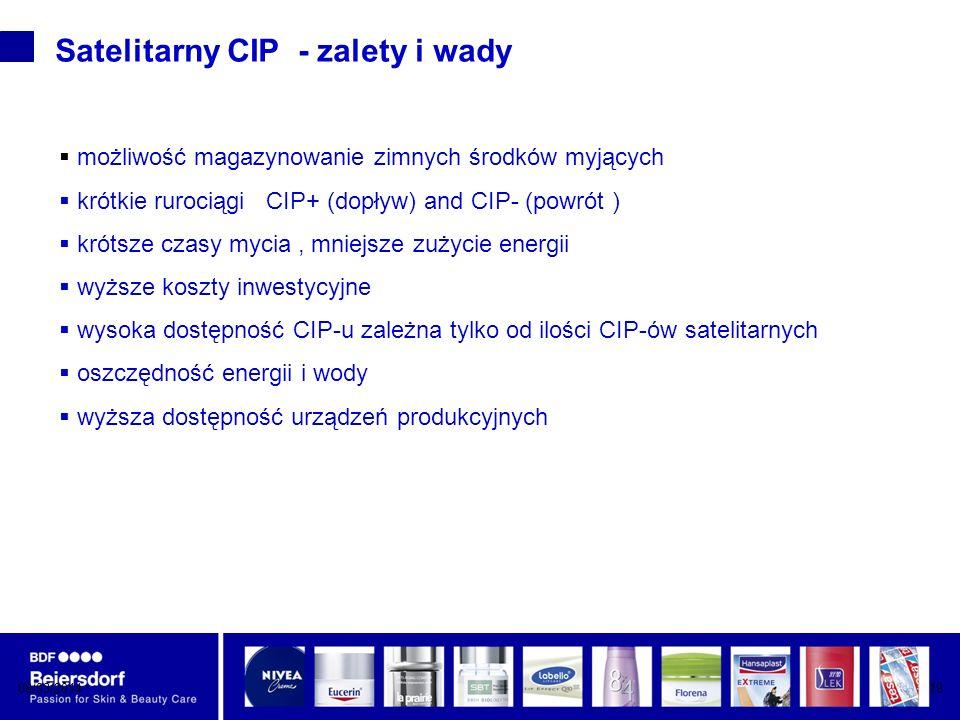 08/03/201419 Satelitarny CIP - zalety i wady możliwość magazynowanie zimnych środków myjących krótkie rurociągi CIP+ (dopływ) and CIP- (powrót ) krótsze czasy mycia, mniejsze zużycie energii wyższe koszty inwestycyjne wysoka dostępność CIP-u zależna tylko od ilości CIP-ów satelitarnych oszczędność energii i wody wyższa dostępność urządzeń produkcyjnych