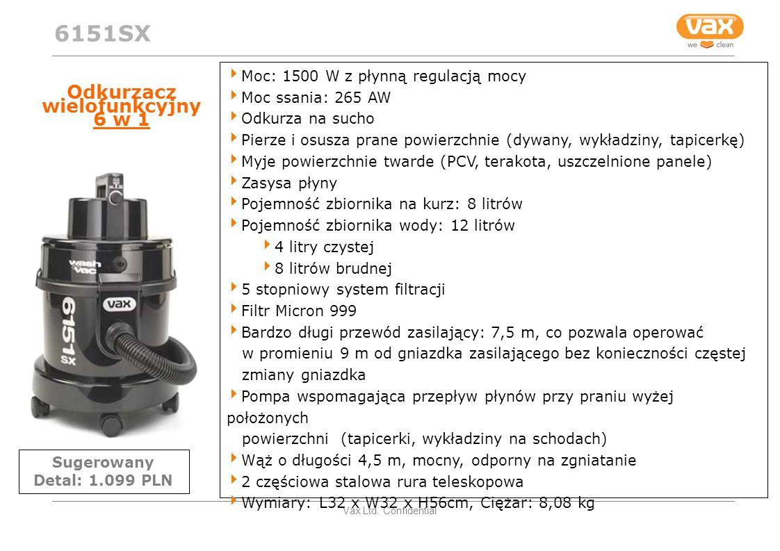 Vax Ltd. Confidential Odkurzacz wielofunkcyjny 6 w 1 Moc: 1500 W z płynną regulacją mocy Moc ssania: 265 AW Odkurza na sucho Pierze i osusza prane pow
