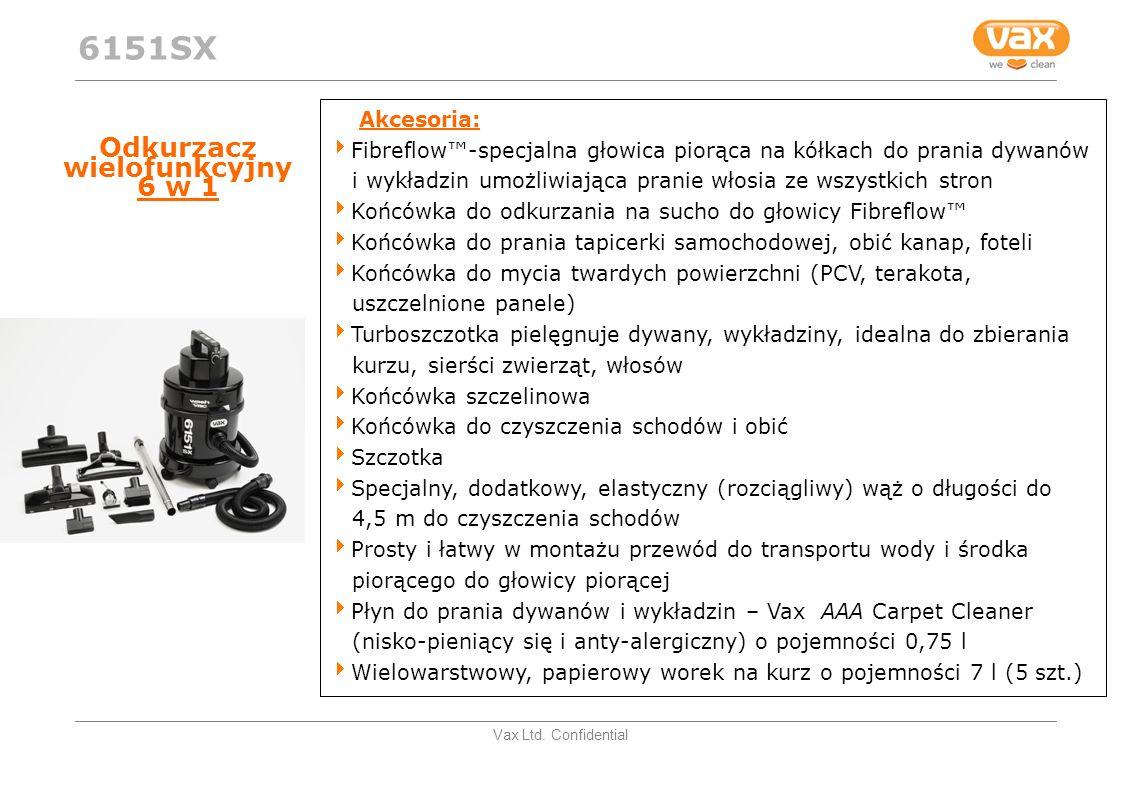 Vax Ltd. Confidential Odkurzacz wielofunkcyjny 6 w 1 Akcesoria: Fibreflow-specjalna głowica piorąca na kółkach do prania dywanów i wykładzin umożliwia