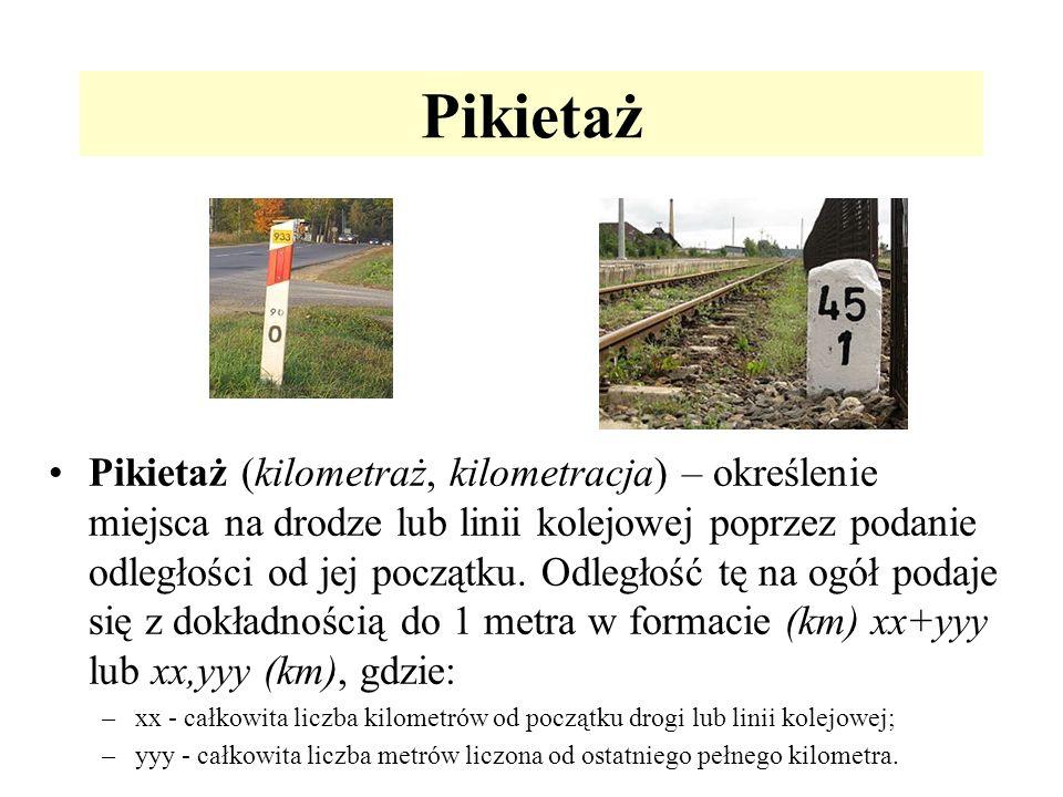 Pikietaż Pikietaż (kilometraż, kilometracja) – określenie miejsca na drodze lub linii kolejowej poprzez podanie odległości od jej początku. Odległość